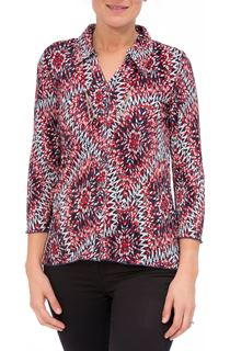 Anna Rose Pleated Top With Necklace - Multi