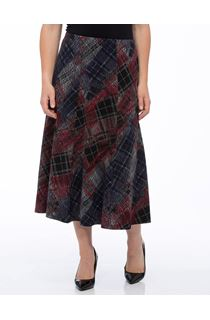 Anna Rose Panelled Elasticated Midi Skirt - Navy/Red