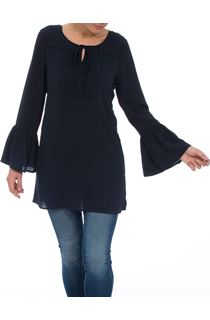 Long Fluted Sleeve Crepe Tunic