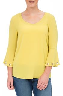 Three Quarter Eyelet Bell Sleeve Top