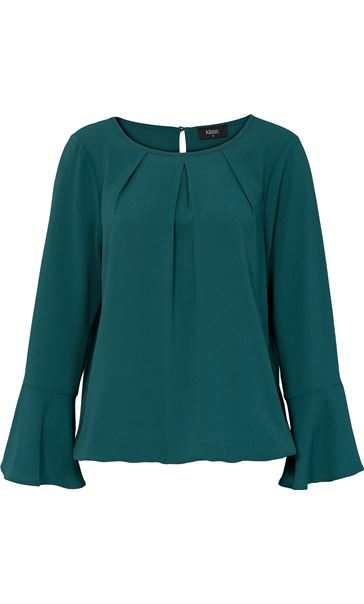 Fluted Long Sleeve Crepe Top