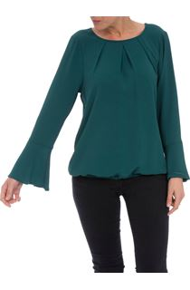 Fluted Long Sleeve Crepe Top - Green