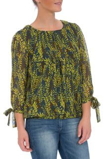 Three Quarter Tie Sleeve Botanical Print Georgette Top