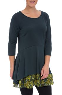 Knit And Georgette Round Neck Tunic