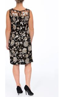 Sleeveless Sequin And Lace Midi Dress - Black/Gold