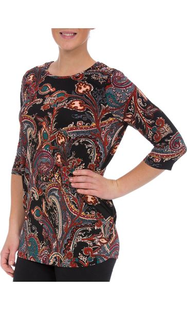 Three Quarter Sleeve Paisley Top With Hip Detail