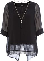 Pleated Cross Over Wrap Top with Necklace