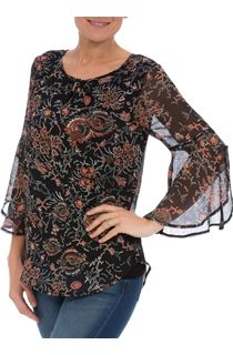 Floral Pleat Chiffon Top with Flute Sleeves