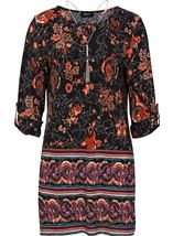 Abstract Floral Tunic with Necklace