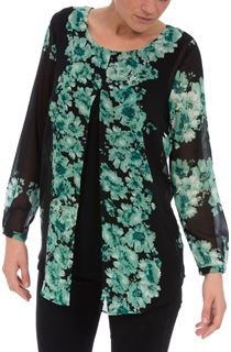 Printed Chiffon Layered Long Sleeve Tunic
