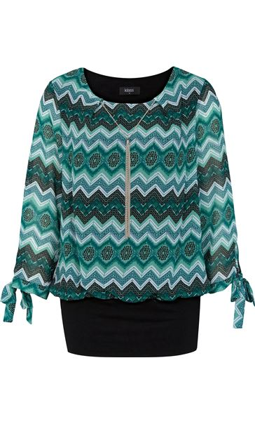 Printed Chiffon And Jersey Tie Sleeve Top