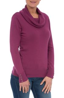 Long Sleeve Cowl Neck Knit Top - Pink