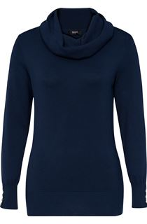 Long Sleeve Cowl Neck Knit Top - Blue