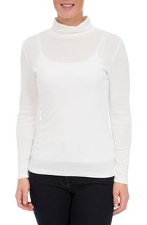 Long Sleeve Turtle Neck Jersey Top - White