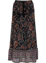 Printed Georgette Pull On Maxi Skirt