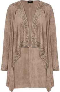 Suedette Long Sleeve Embellished Drape Cardigan - Taupe
