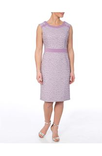 Anna Rose Sleeveless Patterned Shift Dress - Lilac