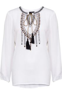 Long Sleeve Embroidered Peasant Top