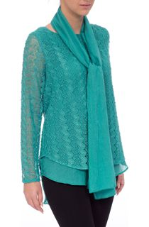 Layered Long Sleeve Scarf Top - Green