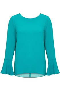Long Bell Sleeve Textured Top - Kingfisher