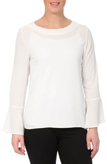 Long Bell Sleeve Textured Top - Ivory
