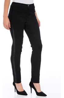 Faux Leather Trim Slim Leg Jeans - Black