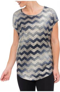 Short Sleeve Chevron Foil Top
