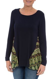 Long Sleeve Printed Panel Top