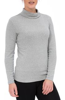 Long Sleeve Turtle Neck Jersey Top - Grey