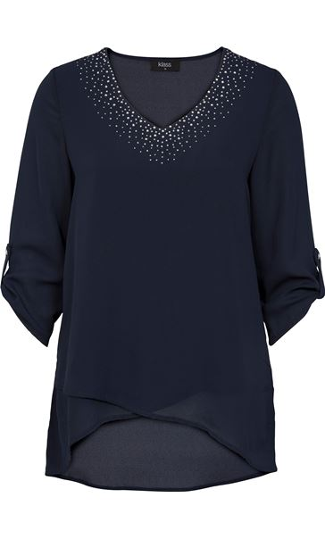 Embellished V Neck Layered Chiffon Top