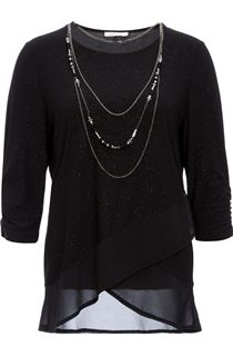 Anna Rose Glitter Asymmetric Top with Necklace