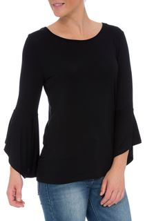 Three Quarter Bell Sleeve Jersey Top - Black