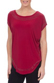Loose Fit Embellished Stretch Top - Red