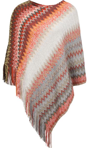 Knitted Chevron Design Poncho