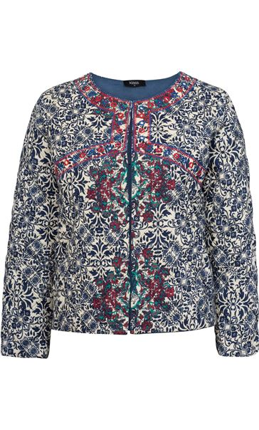 Quilted Printed Long Sleeve Jacket
