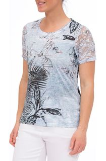 Anna Rose Lace Trim Print Top