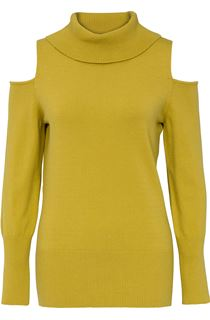 Cold Shoulder Cowl Neck Knit Top - Lime