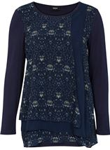 Georgette Layered Long Sleeve Jersey Tunic