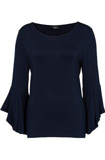 Three Quarter Bell Sleeve Jersey Top - Navy
