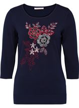 Anna Rose Floral Embroidered And Bead Knit Top