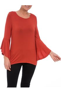Three Quarter Bell Sleeve Jersey Top - Rust