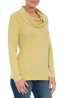Long Sleeve Stripe Cowl Neck Knit Top