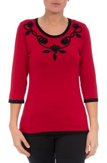 Anna Rose Floral And Bead Trim Knit Top