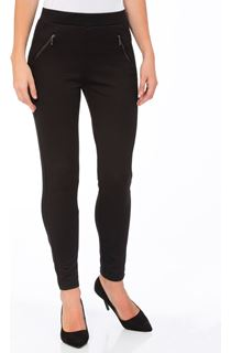 Textured Zip Detail Trousers - Black