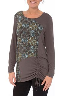Mosaic Print Draw Sting Detail Top