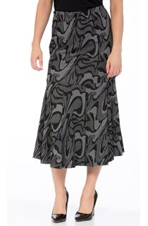 Abstract Print Frill Skirt - Black/Grey