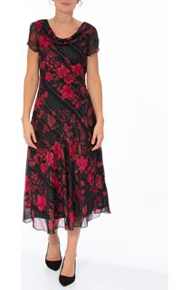 Anna Rose Biased Cut Glitter Floral Dress