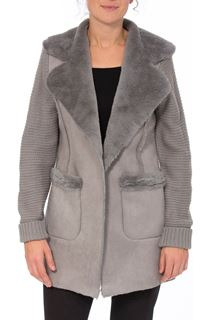 Knit And Shearling Coatigan