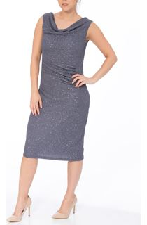Sleeveless Cowl Neck Sparkle Midi Dress