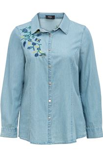 Floral Embroidered Denim Long Sleeve Top